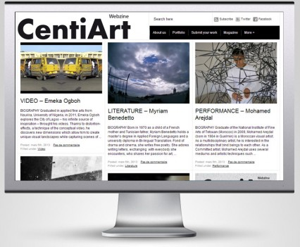 Page d'accueil du site Centiart
